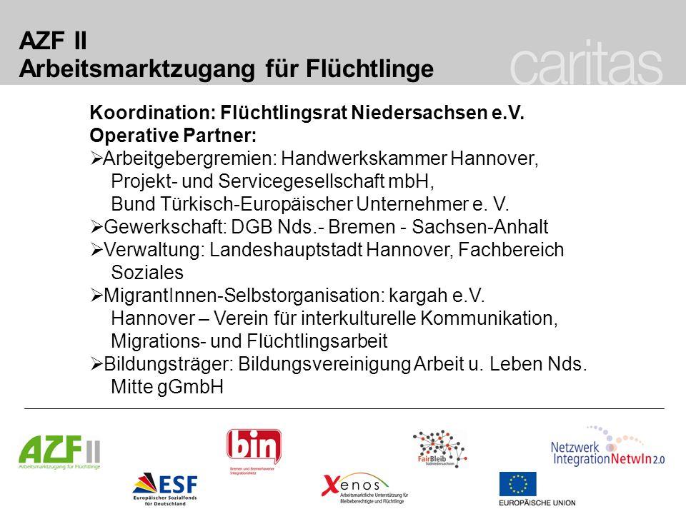 AZF II Arbeitsmarktzugang für Flüchtlinge Koordination: Flüchtlingsrat Niedersachsen e.V. Operative Partner: Arbeitgebergremien: Handwerkskammer Hanno