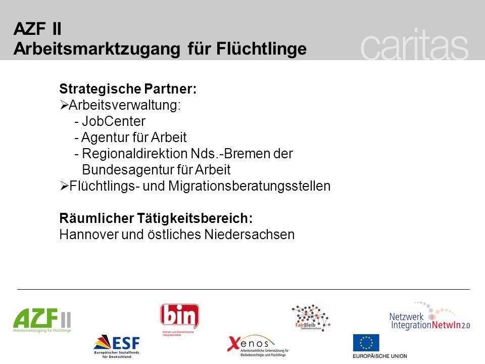 AZF II Arbeitsmarktzugang für Flüchtlinge Besondere Schwerpunkte/Struktur: Beratung zum beschäftigungsabhängigen Aufenthaltsrecht Vernetzung von Arbeitsmarktakteuren