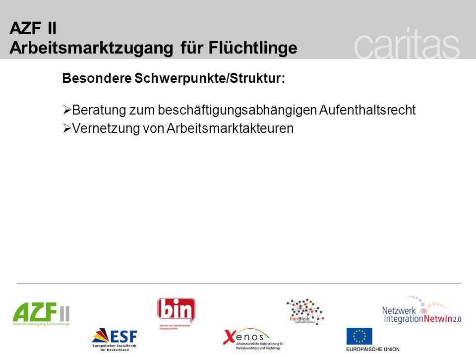 AZF II Arbeitsmarktzugang für Flüchtlinge Besondere Schwerpunkte/Struktur: Beratung zum beschäftigungsabhängigen Aufenthaltsrecht Vernetzung von Arbei
