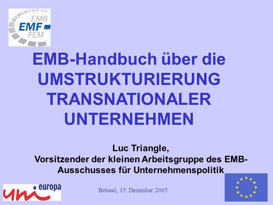 1 Luc Triangle, Vorsitzender der kleinen Arbeitsgruppe des EMB- Ausschusses für Unternehmenspolitik EMB-Handbuch über die UMSTRUKTURIERUNG TRANSNATIONALER UNTERNEHMEN Brüssel, 15.