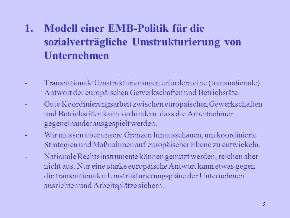 3 1.Modell einer EMB-Politik für die sozialverträgliche Umstrukturierung von Unternehmen -Transnationale Umstrukturierungen erfordern eine (transnationale) Antwort der europäischen Gewerkschaften und Betriebsräte.