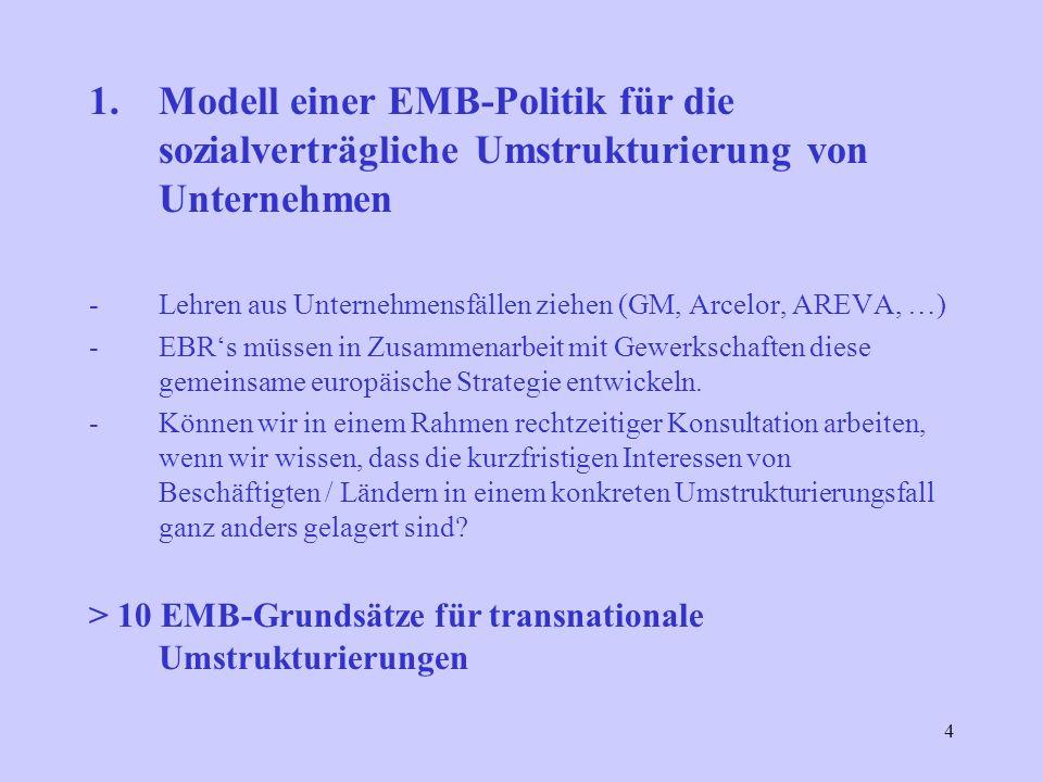 4 1.Modell einer EMB-Politik für die sozialverträgliche Umstrukturierung von Unternehmen -Lehren aus Unternehmensfällen ziehen (GM, Arcelor, AREVA, …) -EBRs müssen in Zusammenarbeit mit Gewerkschaften diese gemeinsame europäische Strategie entwickeln.