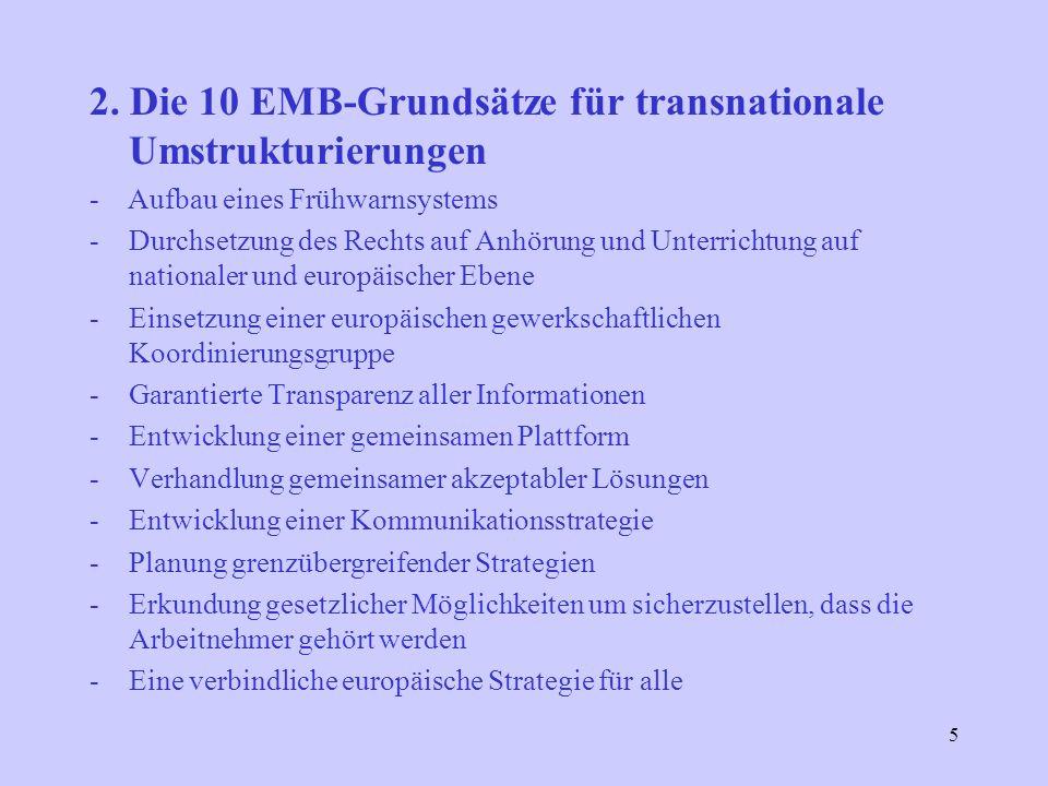 5 2. Die 10 EMB-Grundsätze für transnationale Umstrukturierungen - Aufbau eines Frühwarnsystems -Durchsetzung des Rechts auf Anhörung und Unterrichtun