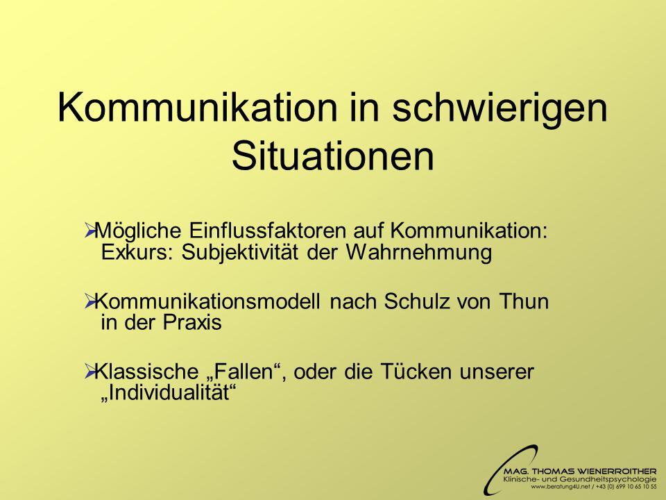 Kommunikation in schwierigen Situationen Mögliche Einflussfaktoren auf Kommunikation: Exkurs: Subjektivität der Wahrnehmung Kommunikationsmodell nach Schulz von Thun in der Praxis Klassische Fallen, oder die Tücken unserer Individualität