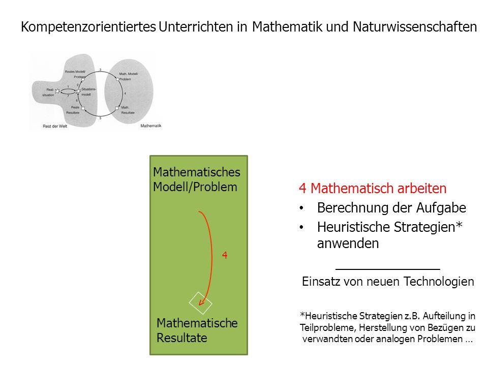 Kompetenzorientiertes Unterrichten in Mathematik und Naturwissenschaften 4 Mathematisch arbeiten Berechnung der Aufgabe Heuristische Strategien* anwen