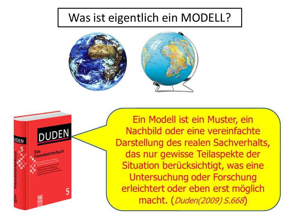 Was ist eigentlich ein MODELL? Ein Modell ist ein Muster, ein Nachbild oder eine vereinfachte Darstellung des realen Sachverhalts, das nur gewisse Tei