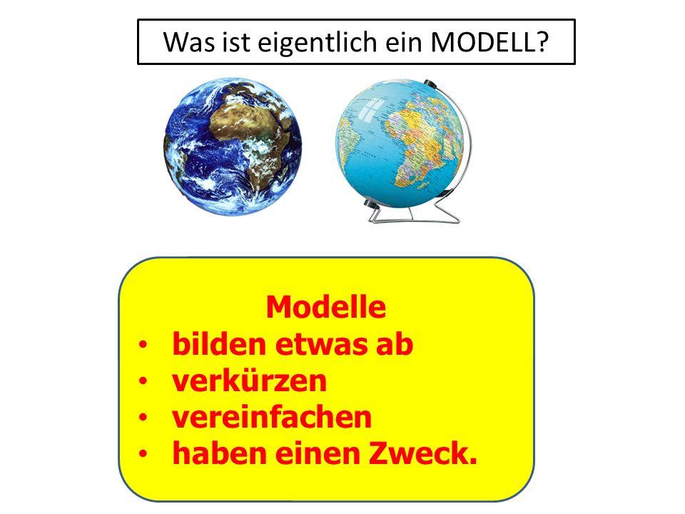 Was ist eigentlich ein MODELL? Modelle bilden etwas ab verkürzen vereinfachen haben einen Zweck.