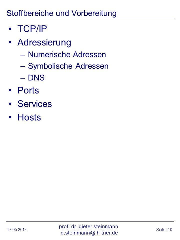 Stoffbereiche und Vorbereitung TCP/IP Adressierung –Numerische Adressen –Symbolische Adressen –DNS Ports Services Hosts 17.05.2014 prof. dr. dieter st