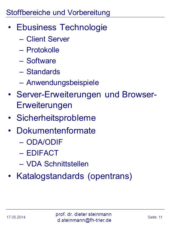 Stoffbereiche und Vorbereitung Ebusiness Technologie –Client Server –Protokolle –Software –Standards –Anwendungsbeispiele Server-Erweiterungen und Bro