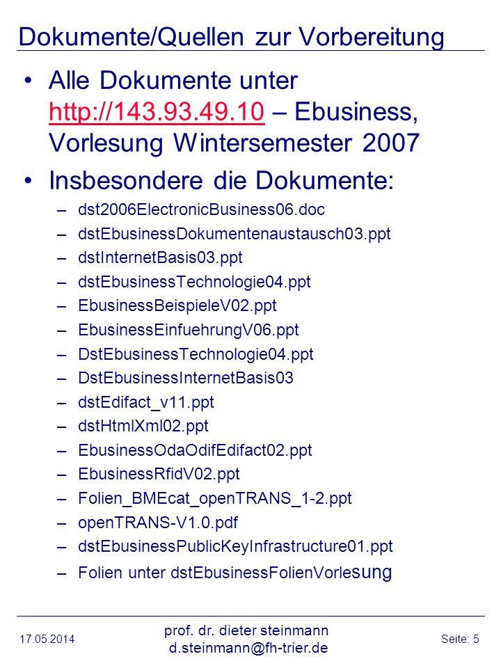Dokumente/Quellen zur Vorbereitung Alle Dokumente unter http://143.93.49.10 – Ebusiness, Vorlesung Wintersemester 2007 http://143.93.49.10 Insbesonder