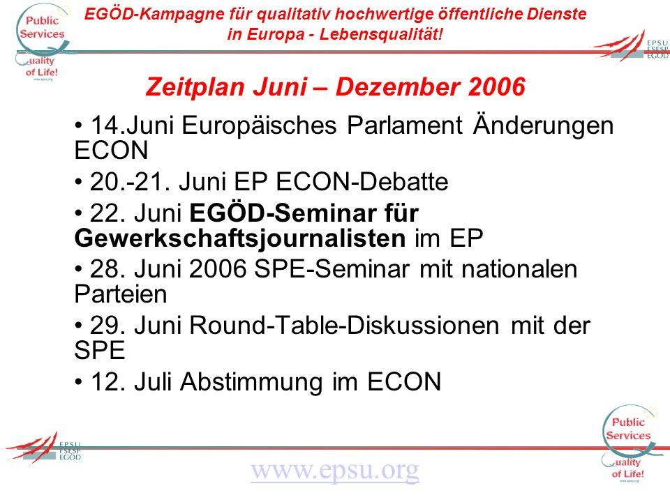 EGÖD-Kampagne für qualitativ hochwertige öffentliche Dienste in Europa - Lebensqualität! www.epsu.org Zeitplan Juni – Dezember 2006 14.Juni Europäisch