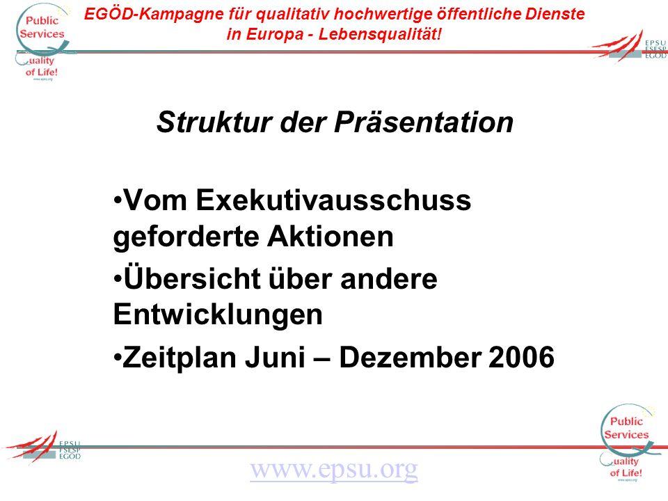 EGÖD-Kampagne für qualitativ hochwertige öffentliche Dienste in Europa - Lebensqualität! www.epsu.org Struktur der Präsentation Vom Exekutivausschuss