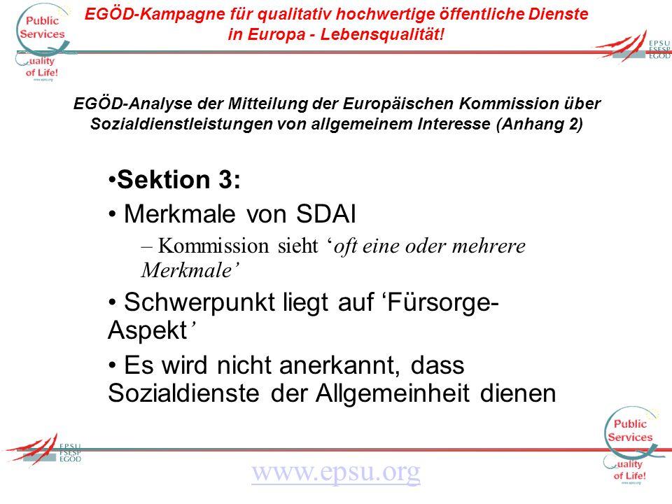 EGÖD-Kampagne für qualitativ hochwertige öffentliche Dienste in Europa - Lebensqualität.