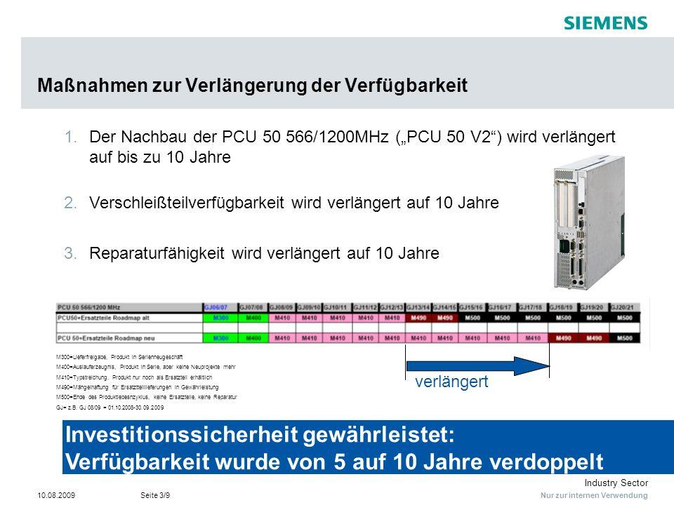 Nur zur internen Verwendung Industry Sector 10.08.2009Seite 3/9 Maßnahmen zur Verlängerung der Verfügbarkeit Investitionssicherheit gewährleistet: Ver