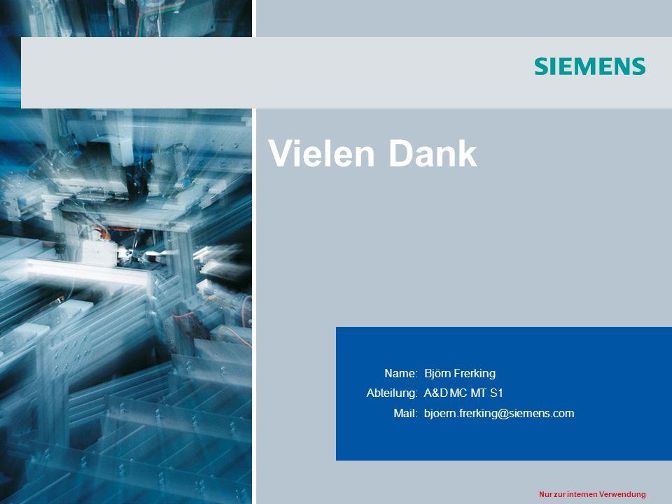 Nur zur internen Verwendung Title of the presentation Name:Björn Frerking Abteilung:A&D MC MT S1 Mail:bjoern.frerking@siemens.com Vielen Dank