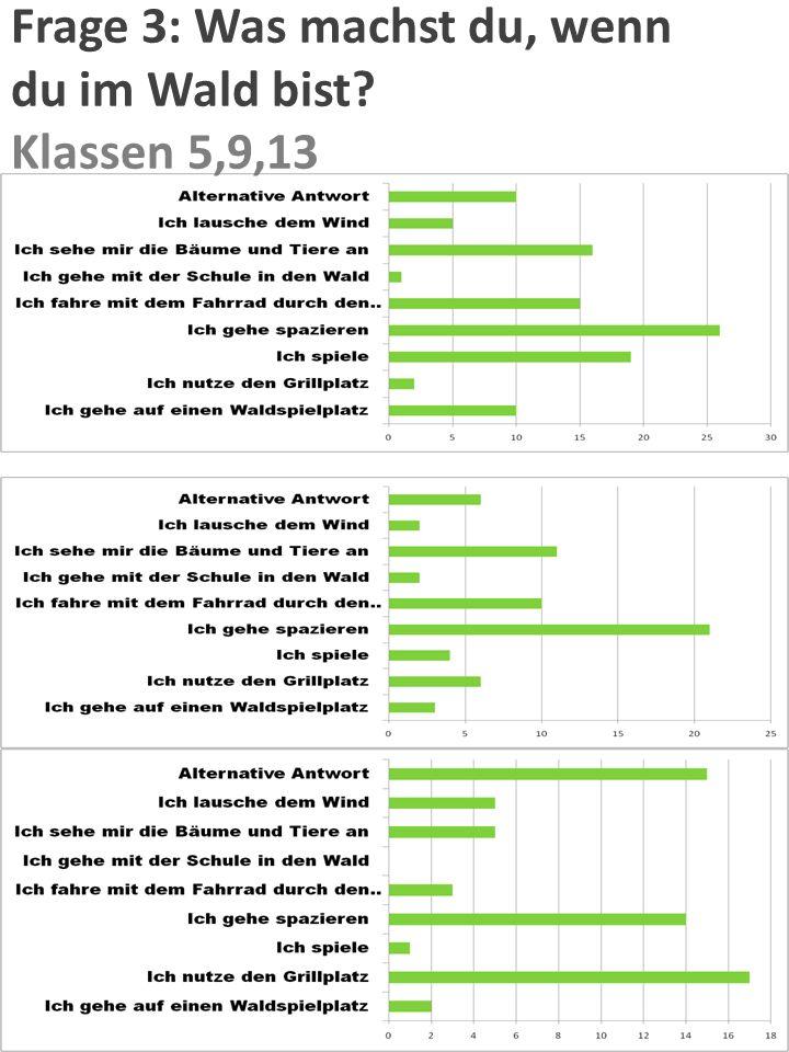 Frage 2: Wie häufig gehst du in den Wald ? Klasse 5,6,9,13 Klasse 6 Klasse 5 Klasse 9 Kurse 13