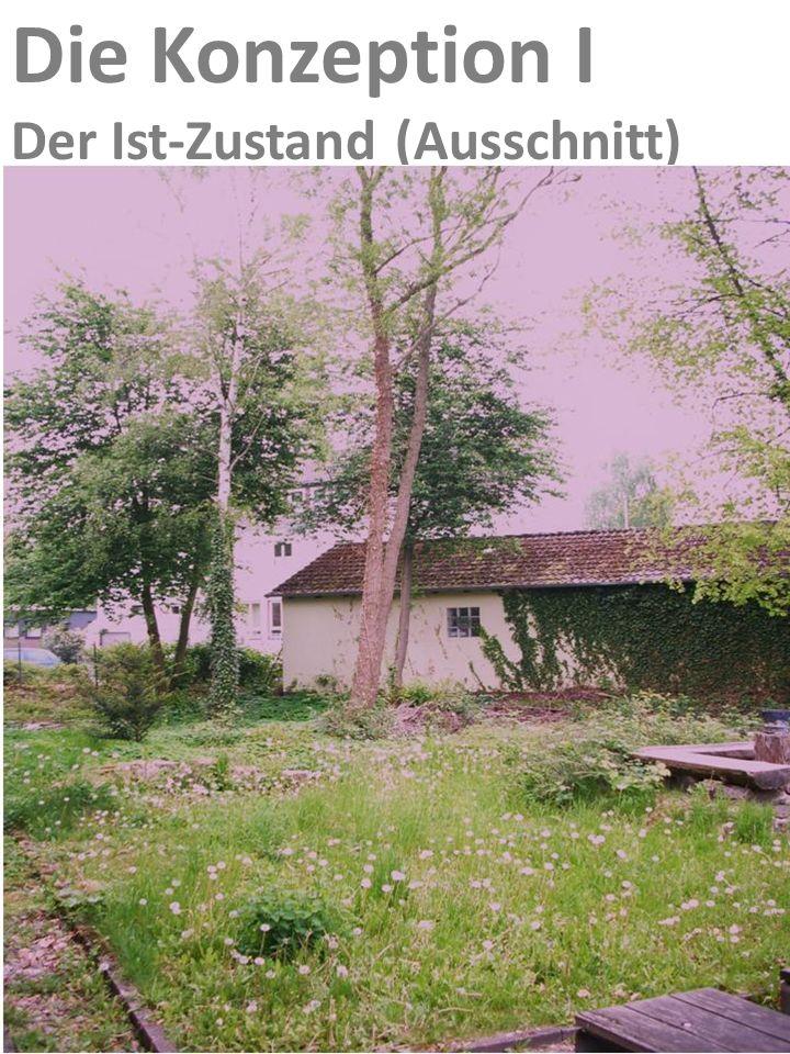 Die Konzeption I Erste Überlegungen zur Umsetzung: Geringer vorhandener Baumbestand (Birken)soll erhalten bleiben Vorhandener Eibenbestand soll bei de
