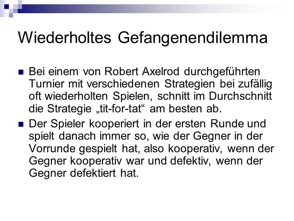 Wiederholtes Gefangenendilemma Bei einem von Robert Axelrod durchgeführten Turnier mit verschiedenen Strategien bei zufällig oft wiederholten Spielen,
