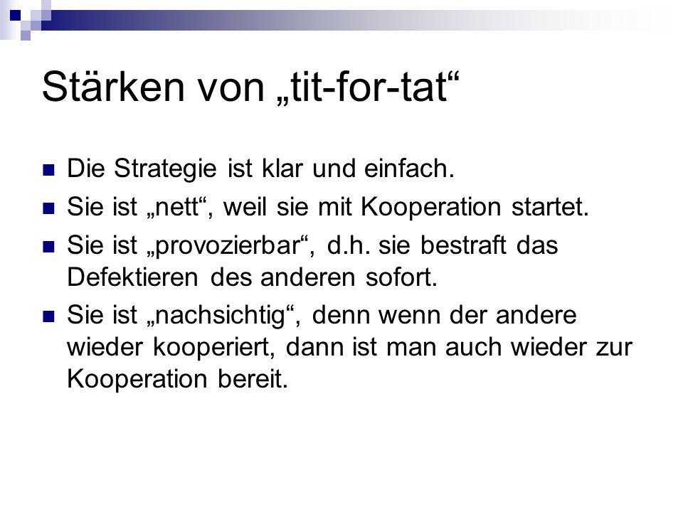 Stärken von tit-for-tat Die Strategie ist klar und einfach. Sie ist nett, weil sie mit Kooperation startet. Sie ist provozierbar, d.h. sie bestraft da