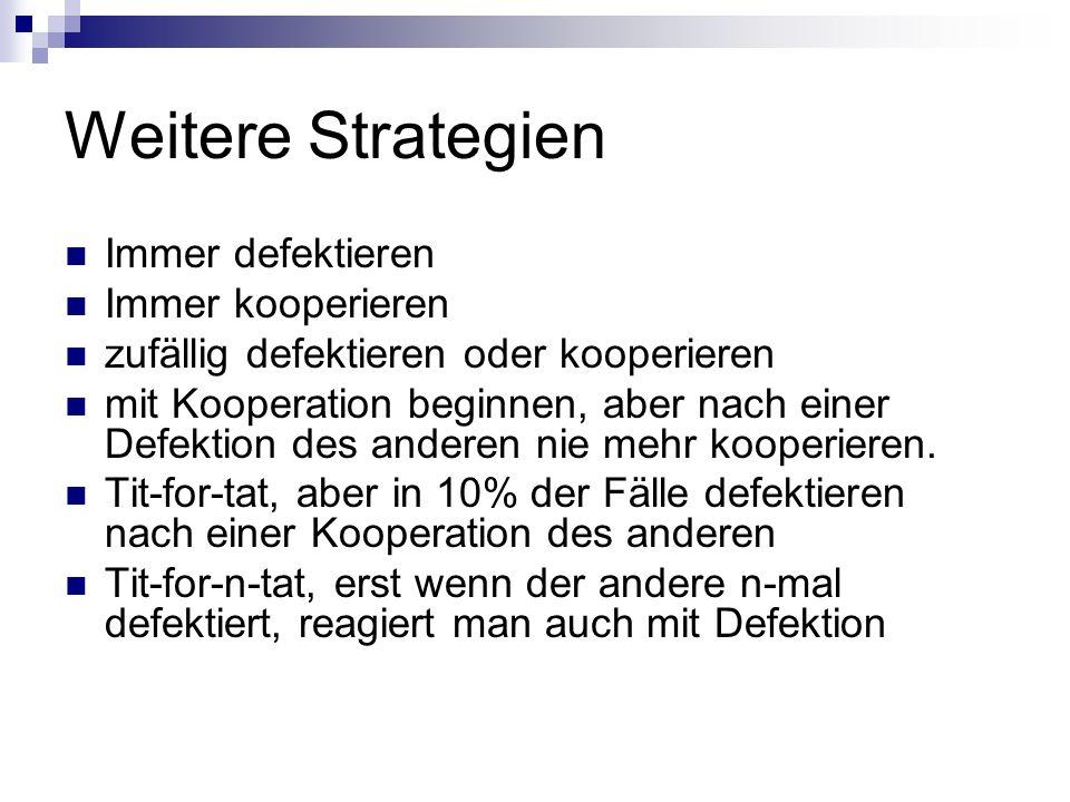 Weitere Strategien Immer defektieren Immer kooperieren zufällig defektieren oder kooperieren mit Kooperation beginnen, aber nach einer Defektion des a