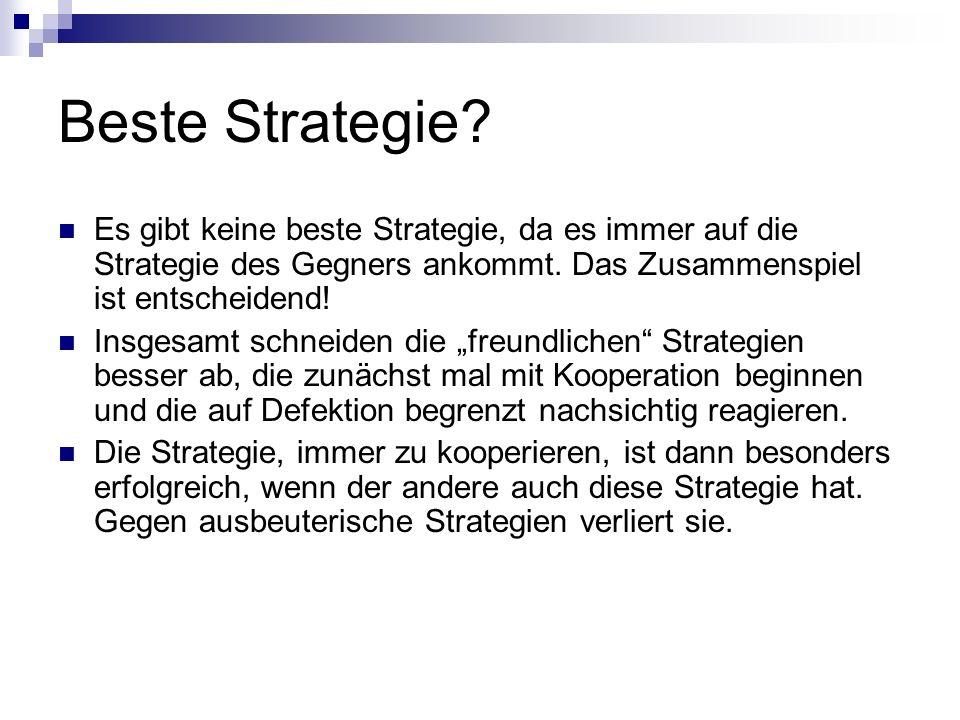 Beste Strategie? Es gibt keine beste Strategie, da es immer auf die Strategie des Gegners ankommt. Das Zusammenspiel ist entscheidend! Insgesamt schne