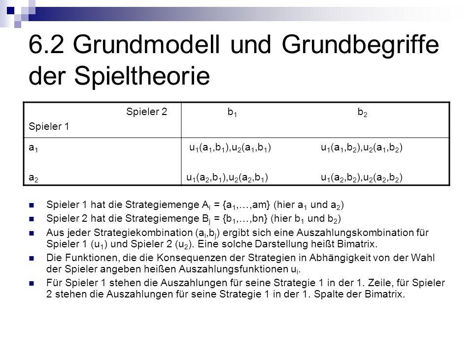 6.2 Grundmodell und Grundbegriffe der Spieltheorie Spieler 1 hat die Strategiemenge A i = {a 1,…,am} (hier a 1 und a 2 ) Spieler 2 hat die Strategieme