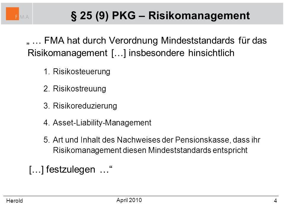 4 … FMA hat durch Verordnung Mindeststandards für das Risikomanagement […] insbesondere hinsichtlich 1.Risikosteuerung 2.Risikostreuung 3.Risikoreduzi