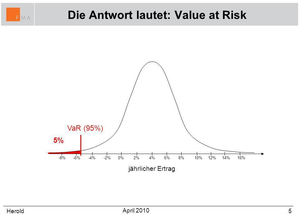 Die Antwort lautet: Value at Risk 5Herold April 2010 0%2%4%6%8%-2%-4%-6%-8% jährlicher Ertrag 10%12%14%16% 5% VaR (95%)