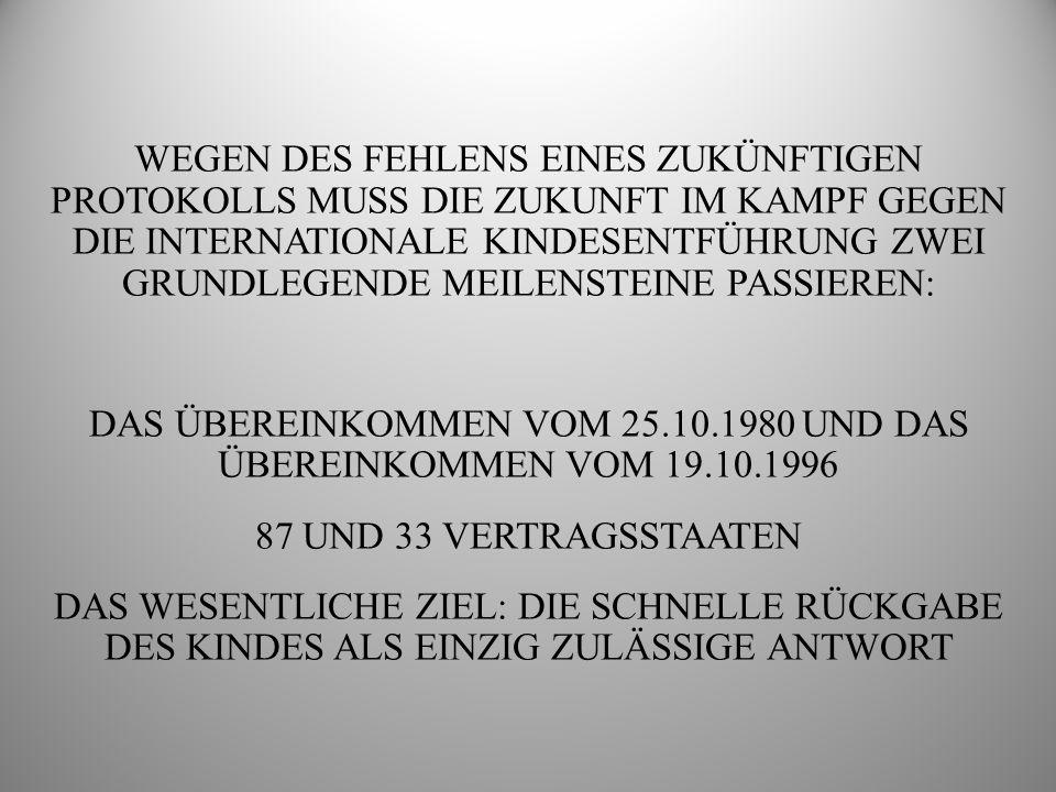 DIE SPEZIELLEN AUFGABEN, FÜR DIE DIE HAAGER KONFERENZ BEZÜGLICH DER ÜBEREINKOMMEN VOM 25.10.1980 UND 19.10.1996 ZUSTÄNDIG IST DATENBANK ÜBER INTERNATIONALE KINDESENTFÜHRUNG (INCADAT)