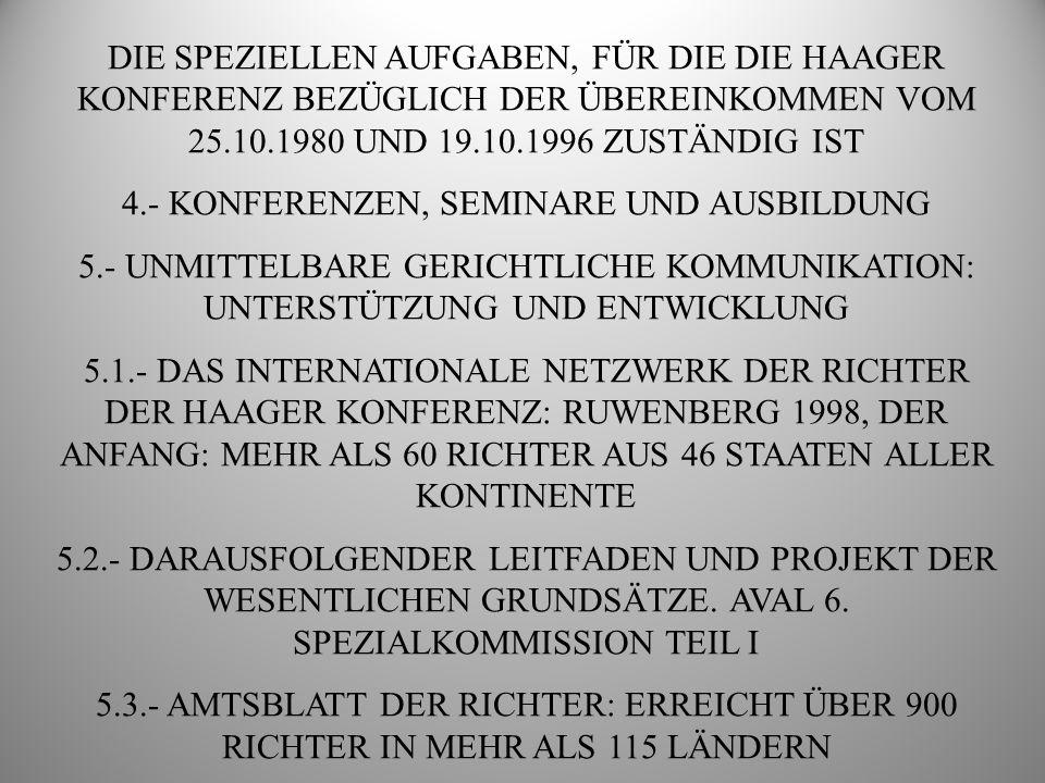 DIE SPEZIELLEN AUFGABEN, FÜR DIE DIE HAAGER KONFERENZ BEZÜGLICH DER ÜBEREINKOMMEN VOM 25.10.1980 UND 19.10.1996 ZUSTÄNDIG IST 6.- DIE INTERNETSEITE DER HAAGER KONFERENZ UND DIE SPEZIALABTEILUNG ÜBER KINDESENTFÜHRUNG 7.-DATENBANKEN, FALLVERWALTUNGSSYSTEME UND ZUSÄTZLICHE VERBESSERUNG DER INFORMATIONSSYSTEME 7.1.- DATENBANK ÜBER INTERNATIONALE KINDESENTFÜHRUNG (INCADAT) 7.2.- STATISTIKDATENBANK ÜBER INTERNATIONALE KINDESENTFÜHRUNG (INCASTAT) 7.3.- FALLVERWALTUNGSSYSTEM ICHILD