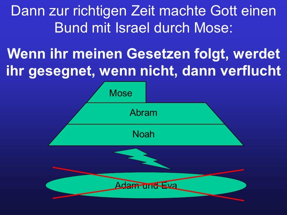 Dann zur richtigen Zeit machte Gott einen Bund mit Israel durch Mose: Wenn ihr meinen Gesetzen folgt, werdet ihr gesegnet, wenn nicht, dann verflucht Adam und Eva Noah Abram Mose