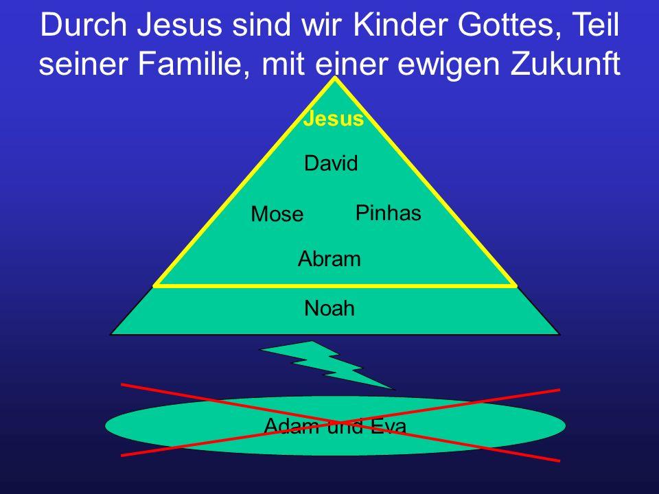 Durch Jesus sind wir Kinder Gottes, Teil seiner Familie, mit einer ewigen Zukunft Adam und Eva Noah David Jesus Mose Pinhas Abram