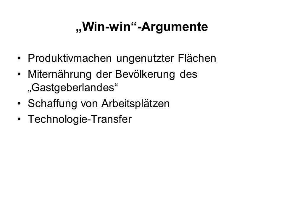 Win-win-Argumente Produktivmachen ungenutzter Flächen Miternährung der Bevölkerung des Gastgeberlandes Schaffung von Arbeitsplätzen Technologie-Transf