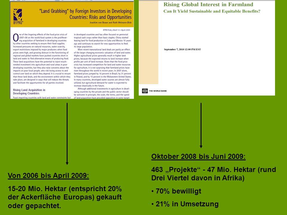 Von 2006 bis April 2009: 15-20 Mio. Hektar (entspricht 20% der Ackerfläche Europas) gekauft oder gepachtet. Oktober 2008 bis Juni 2009: 463 Projekte -