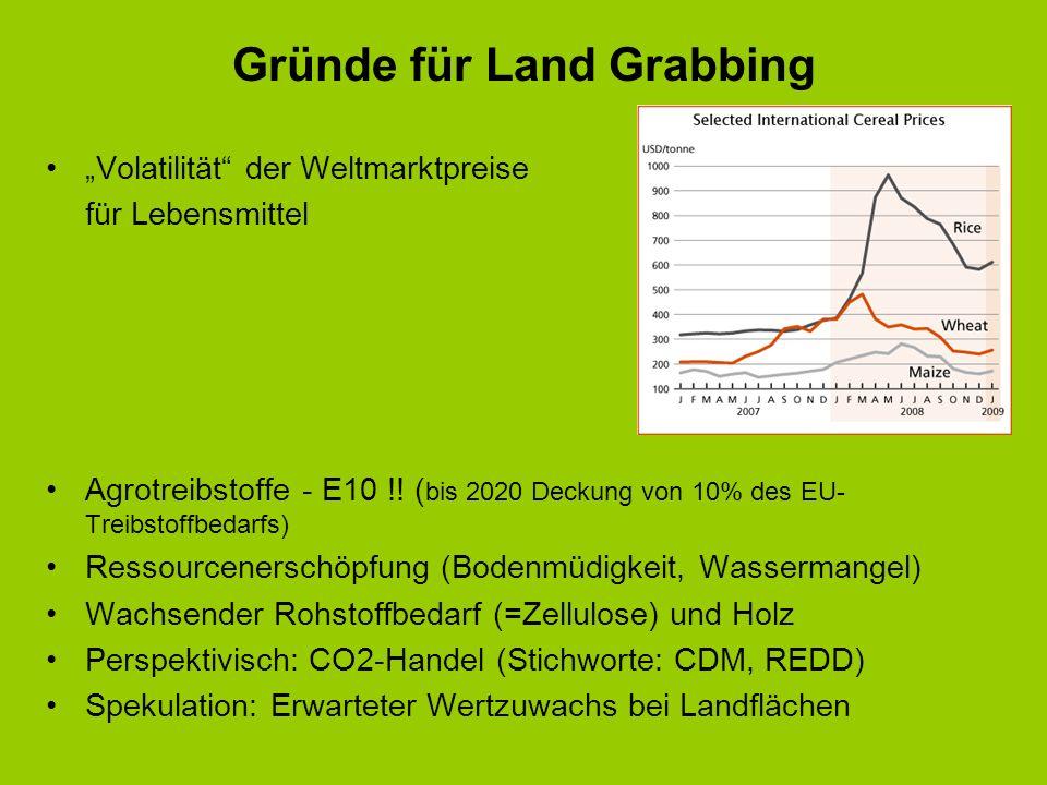 Gründe für Land Grabbing Volatilität der Weltmarktpreise für Lebensmittel Agrotreibstoffe - E10 !! ( bis 2020 Deckung von 10% des EU- Treibstoffbedarf