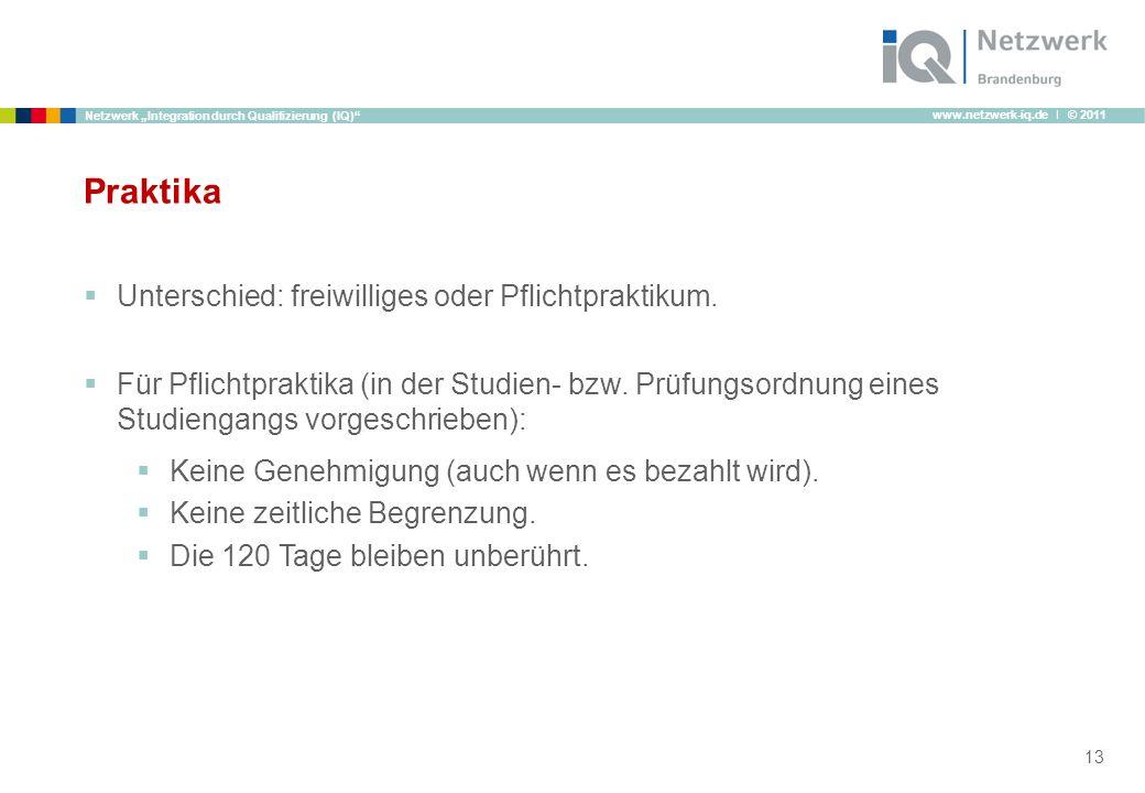 www.netzwerk-iq.de I © 2011 Netzwerk Integration durch Qualifizierung (IQ) Praktika Unterschied: freiwilliges oder Pflichtpraktikum. Für Pflichtprakti