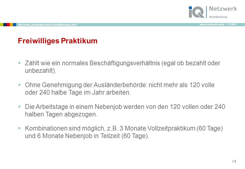www.netzwerk-iq.de I © 2011 Netzwerk Integration durch Qualifizierung (IQ) Freiwilliges Praktikum Zählt wie ein normales Beschäftigungsverhältnis (ega