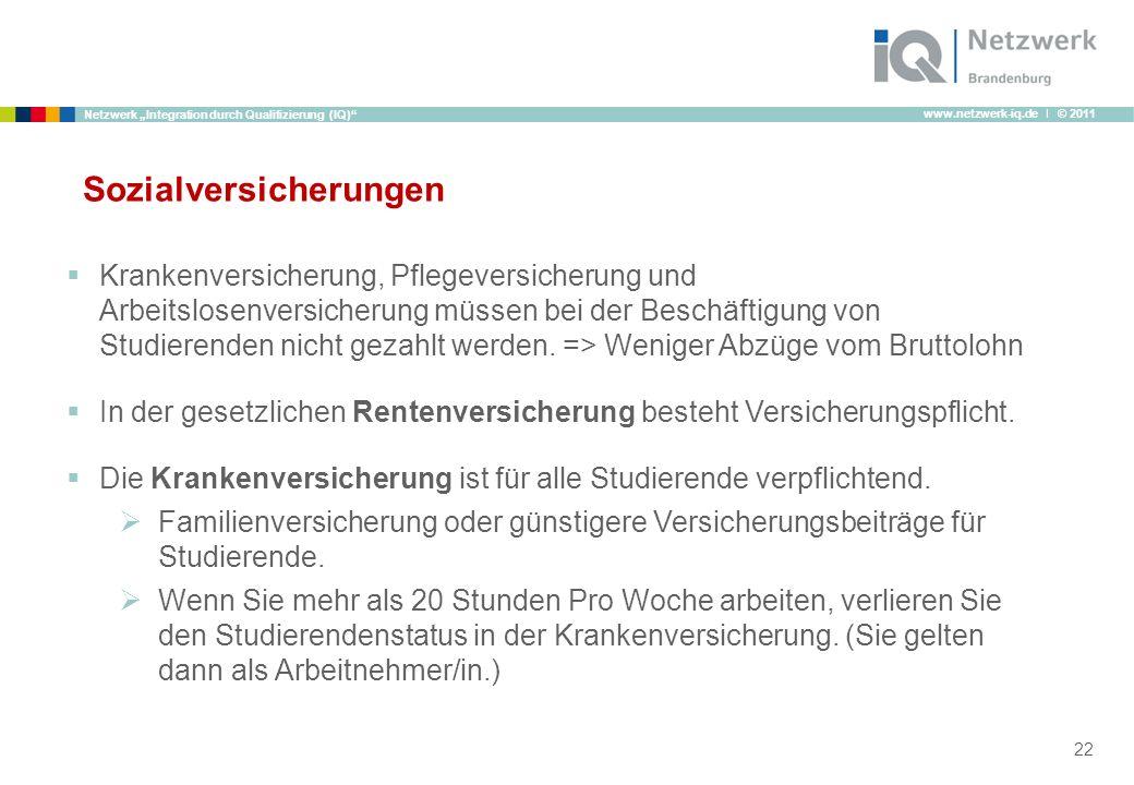 www.netzwerk-iq.de I © 2011 Netzwerk Integration durch Qualifizierung (IQ) Sozialversicherungen Krankenversicherung, Pflegeversicherung und Arbeitslos
