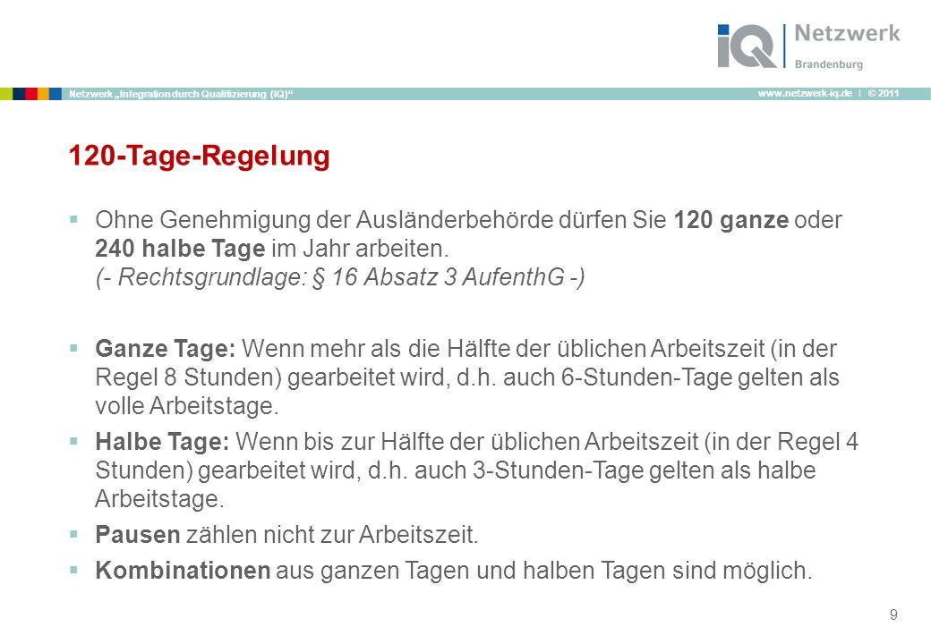 www.netzwerk-iq.de I © 2011 Netzwerk Integration durch Qualifizierung (IQ) 120-Tage-Regelung Ohne Genehmigung der Ausländerbehörde dürfen Sie 120 ganz