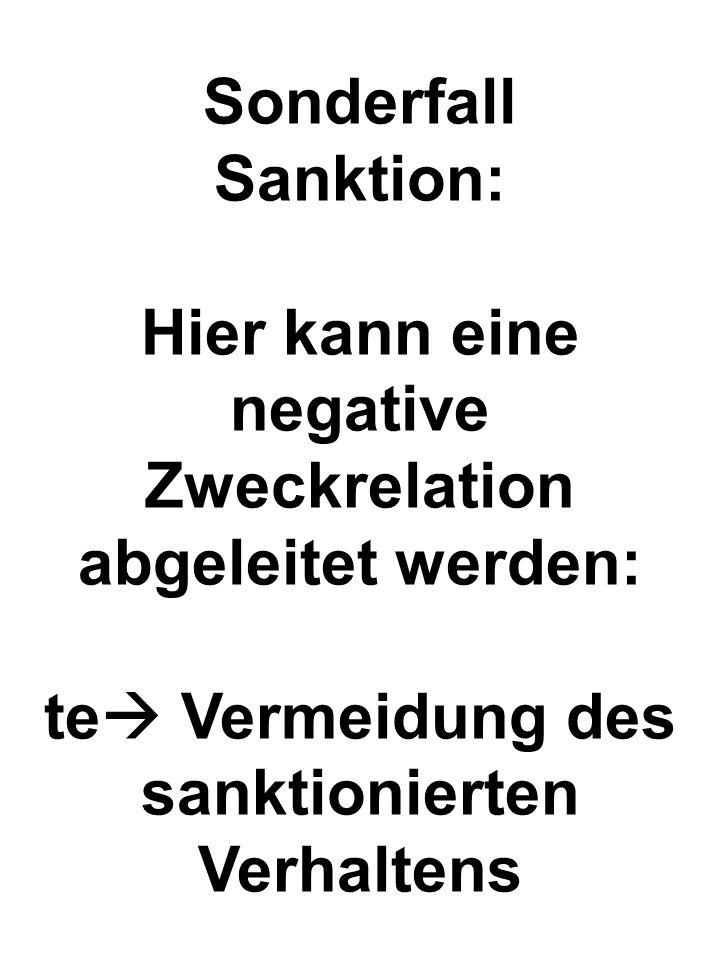 Sonderfall Sanktion: Hier kann eine negative Zweckrelation abgeleitet werden: te Vermeidung des sanktionierten Verhaltens