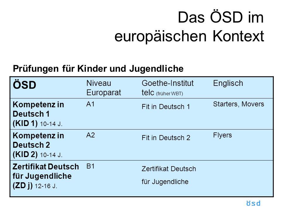 ösd Das ÖSD im europäischen Kontext Prüfungen für Kinder und Jugendliche ÖSD Niveau Europarat Goethe-Institut telc (früher WBT) Englisch Kompetenz in Deutsch 1 (KID 1) 10-14 J.