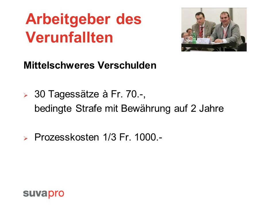 Arbeitgeber des Verunfallten Mittelschweres Verschulden 30 Tagessätze à Fr. 70.-, bedingte Strafe mit Bewährung auf 2 Jahre Prozesskosten 1/3 Fr. 1000