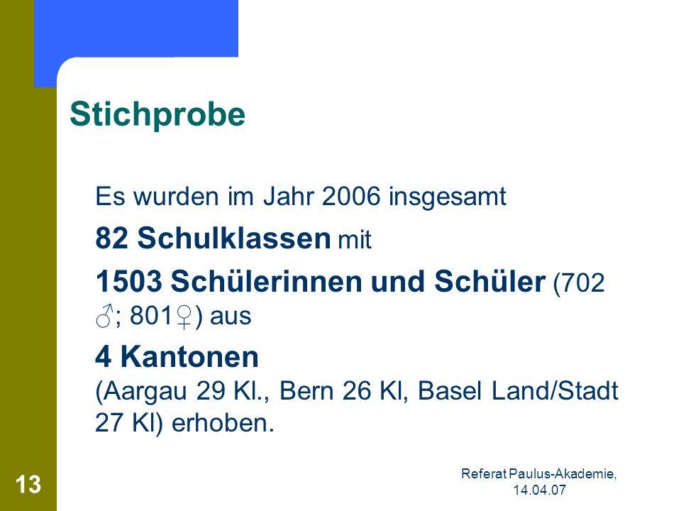 Referat Paulus-Akademie, 14.04.07 13 Stichprobe Es wurden im Jahr 2006 insgesamt 82 Schulklassen mit 1503 Schülerinnen und Schüler (702 ; 801) aus 4 K