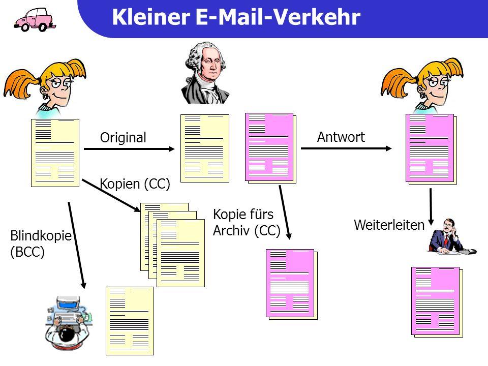 Kleiner E-Mail-Verkehr Antwort Kopie fürs Archiv (CC) Original Blindkopie (BCC) Kopien (CC) Weiterleiten