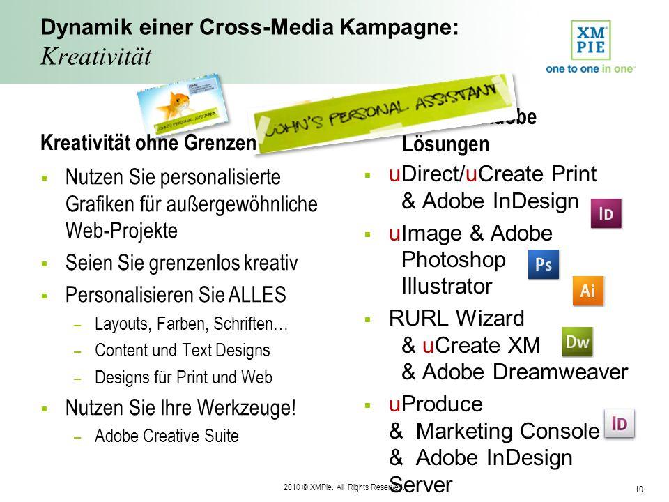 2010 © XMPie. All Rights Reserved. 10 XMPie & Adobe Lösungen Dynamik einer Cross-Media Kampagne: Kreativität Nutzen Sie personalisierte Grafiken für a