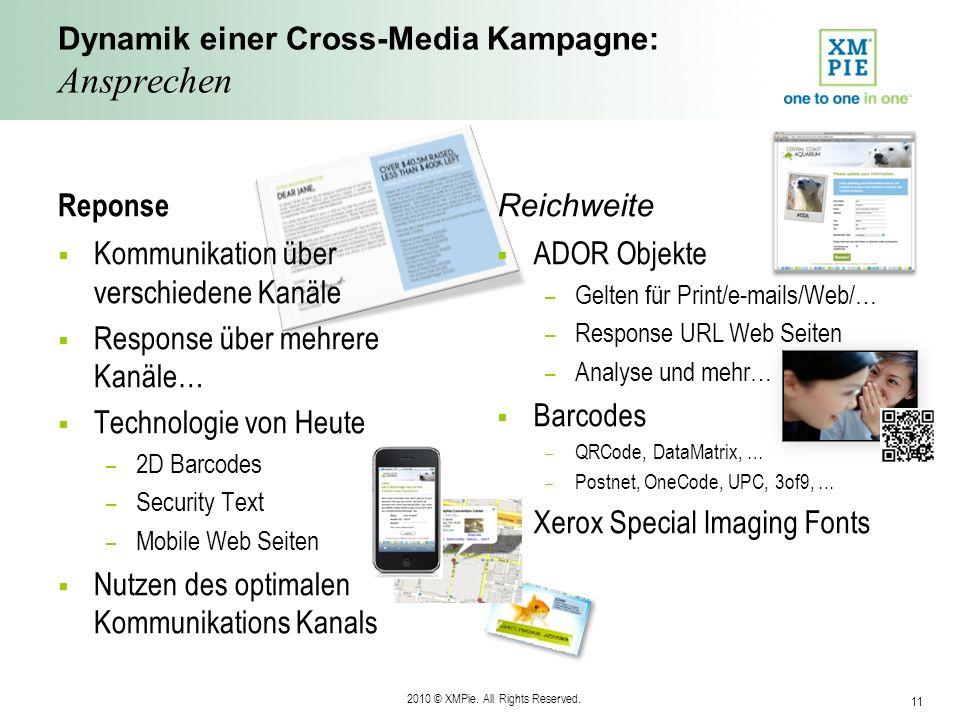 2010 © XMPie. All Rights Reserved. 11 Dynamik einer Cross-Media Kampagne: Ansprechen Reponse Kommunikation über verschiedene Kanäle Response über mehr