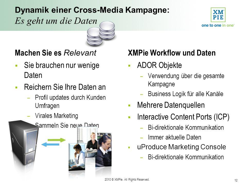 2010 © XMPie. All Rights Reserved. 12 Dynamik einer Cross-Media Kampagne: Es geht um die Daten Machen Sie es Relevant Sie brauchen nur wenige Daten Re
