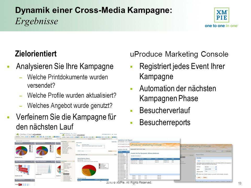 2010 © XMPie. All Rights Reserved. 13 Dynamik einer Cross-Media Kampagne: Ergebnisse Zielorientiert Analysieren Sie Ihre Kampagne – Welche Printdokume