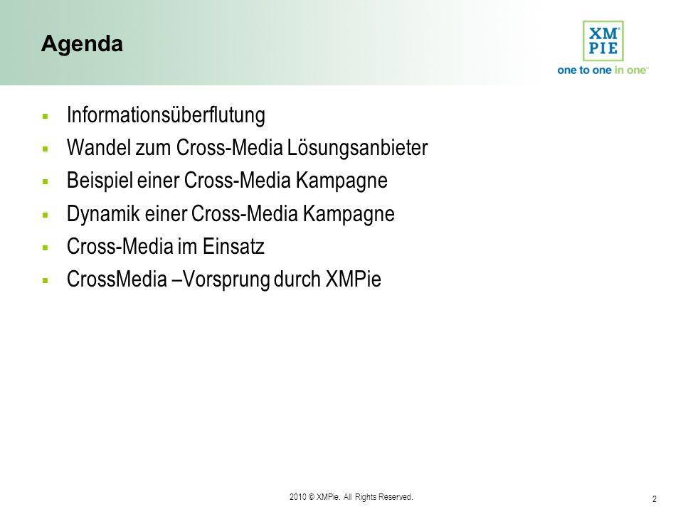 2010 © XMPie. All Rights Reserved. 2 Agenda Informationsüberflutung Wandel zum Cross-Media Lösungsanbieter Beispiel einer Cross-Media Kampagne Dynamik