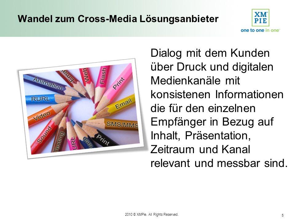 2010 © XMPie. All Rights Reserved. 5 Wandel zum Cross-Media Lösungsanbieter Dialog mit dem Kunden über Druck und digitalen Medienkanäle mit konsistene
